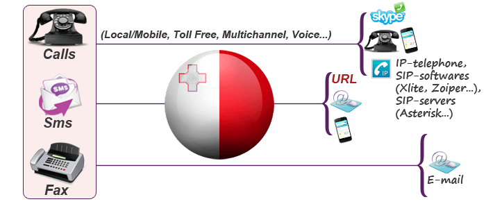 Buy national Malta virtual phone numbers with call