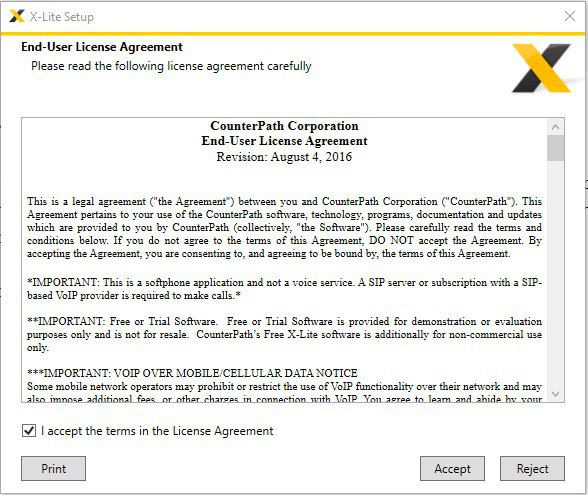 Set free X-lite voice application on Windows for making outbound